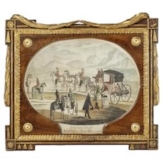 "18th Century ""Meeting of Joseph II and Pius VI"" Austrian School Colored Engraving"