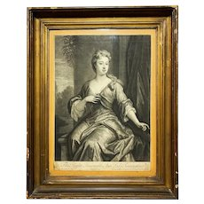Early 18th Century Ann Lady Torrington Mezzotint Engraving Print