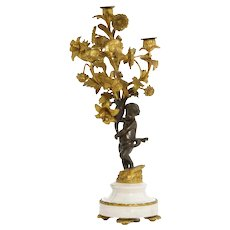 19th Century Antique Louis XV Style Bronze & Marble Figural Candelabrum