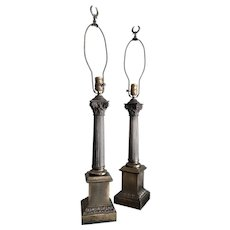 A Neoclassical Column Table Lamps - a Pair
