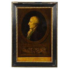 I. Bouillard (19th Century) Franciscus Bartolizzi Reverse Painting on Glass