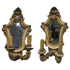 1940s Italian Handpainted Wall Sconces - a Pair