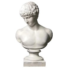 1940s Vintage Neoclassical Style Plaster Bust of Apollo Sculpture