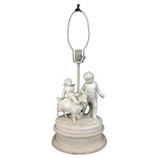 19th-Century French Bisque Table Lamp Signed Marion