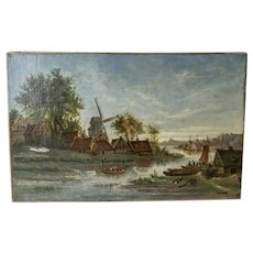 """19th Century Antique """"Harbor With Windmill"""" Continental School Oil Painting"""