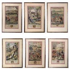 1680s Antique Richard Blome Engravings Prints - Set of 6