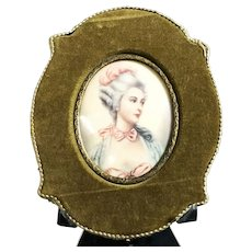 19th Century Antique Miniature Portrait of a French Lady Painting