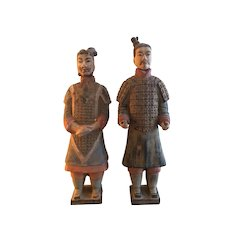 Hand Painted Chinese Emperor Qin She Huang Terracotta Figurines - a Pair