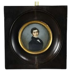 Early 19th Century Antique Miniature Hand Painted Portrait of a Young Man Painting
