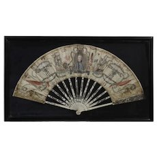 Spanish Painted Fan Commemorative of Gibraltar History, Late 18th Century