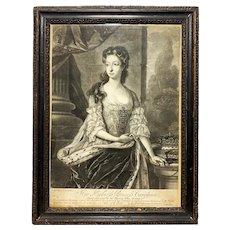 18th Century Her Highness Princess Caroline Mezzotint Engraving Print
