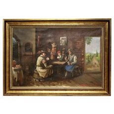 First Half of 20th Century Signed Oil on Canvas Genre Painting