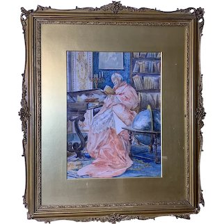 Mid 19th Century Antique Italian School Watercolor Painting
