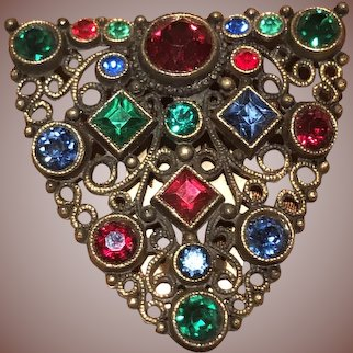 Vintage Czech Glass Dress Clip with Brilliant Red, Green and Blue Glass Rhinestones