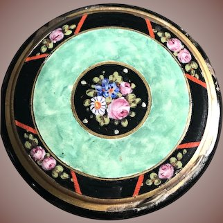 Amazing Vintage Green & Black Enamel Compact with Hand Painted Roses Violets Daisies & Leaves