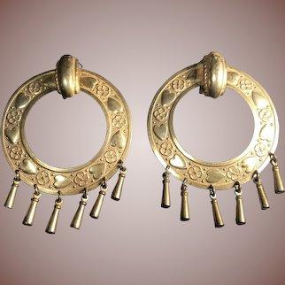 Fabulous Miriam Haskell Large Hoop Clip Earrings Goldtone with Beaded Fringe Signed Vintage