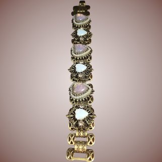 Lovely 1950's Bookchain Bracelet with Opaline Hearts and Simulated Pearls in Filigree Brass Setting