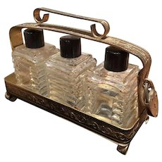 Very Cool Set of Vintage Perfume Bottles in Original Caddy with Heart Padlock Charm