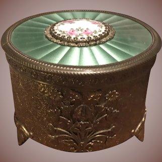 Fabulous Vintage Brass Faux Guilloche Enamel Powder Trinket Dresser Jar Music Box