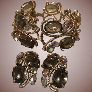 Gorgeous Vintage Signed Shiaparelli Bracelet and Earring Set - Mint Condition