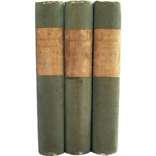 Poems of Jonathan Swift - antiquarian three volume set from 1854 - Free US Shipping