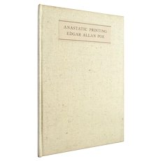 Anastatic Printing - scarce limited edition Edgar Allan Poe essay on printing from 1946 - Free US Shipping