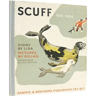 Scuff the Seal - vintage 1937 first edition illustrated children's book by Lida - Free US Shipping
