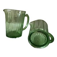 Green Depression Glass Pitchers