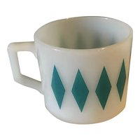 Vintage Fire King Milk Glass Turquoise Diamond Coffee Mug