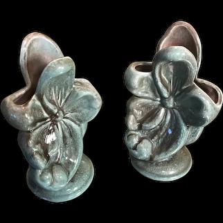 Vintage Gonder Dogwood Flower Vase in Green Drip Glaze