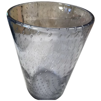 Glass Vase Hand Blown with Controlled Bubbles