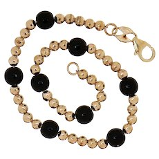 "Eternagold 6.7"" Yellow Gold & Black Onyx Bead Station Chain 14k Bracelet"