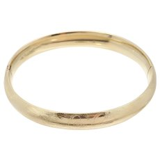 Floral Engraved Yellow Gold Hinged 14k Bangle Bracelet 11.9g