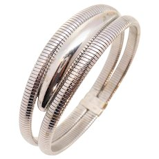 Forstner White GF 2 Row Gas Pipe Flexible Tubogas Bangle Bracelet