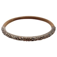 Chinese Export Silver Cherry Blossom & Rattan Bamboo Bangle