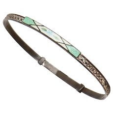 Fine Guilloche Enamel with Tiny Forget-me-not Flower Sterling Silver Thin Bangle Bracelet