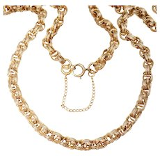"20"" Binder Brothers Gold Filled Textured & Spiraled Rolo Chain Link Necklace"
