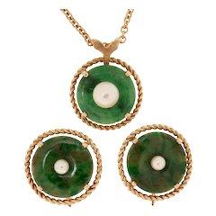 Natural Color Jadeite Bi Disk & Akoya Pearl 14K Gold Necklace & Earrings Set
