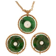Natural Color Jadeite Bi Disk & Akoya Pearl 14K Gold Necklace & Earrings Set
