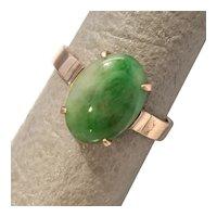 Size 6.25 Green Jadeite 14K Rose Gold Ring