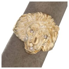 Size 7.5 Diamond Accented Figural Lion Statement Ring 14K Yellow Gold
