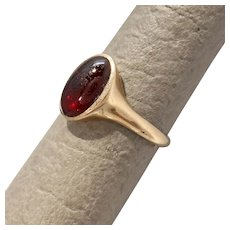 Size 4.75 Allsopp Brothers Garnet Carbuncle Cabochon 10K Gold RIng