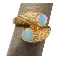 Size 6.5 Cordova Opal Textured 14k Gold Bypass Ring 6g