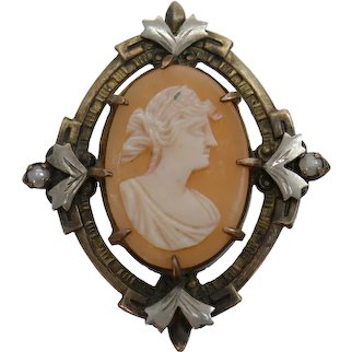 Antique 1910 Shell Cameo & Seed Pearl Oval Brooch