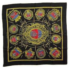 Hermes Silk Scarf Les Armes Des Paris in Black & Ochre