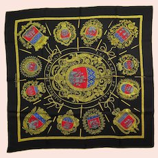 Hermes Silk Scarf Les Armes Des Paris in Black & Ochre