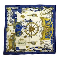Hermes Silk Scarf Musee Blue & Gold Nautical Carre