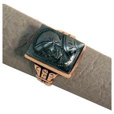 Size 7.75 Antique Hematite Warrior Cameo 10K Rose Gold Ring 7.3g