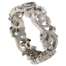 Size 5.75 Carved Floral Diamond 18K White Gold Eternity Band