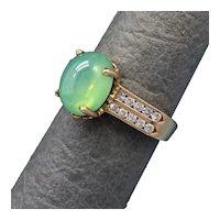 Size 6.5 Linde Star Sapphire & Diamond 14k Gold Ring